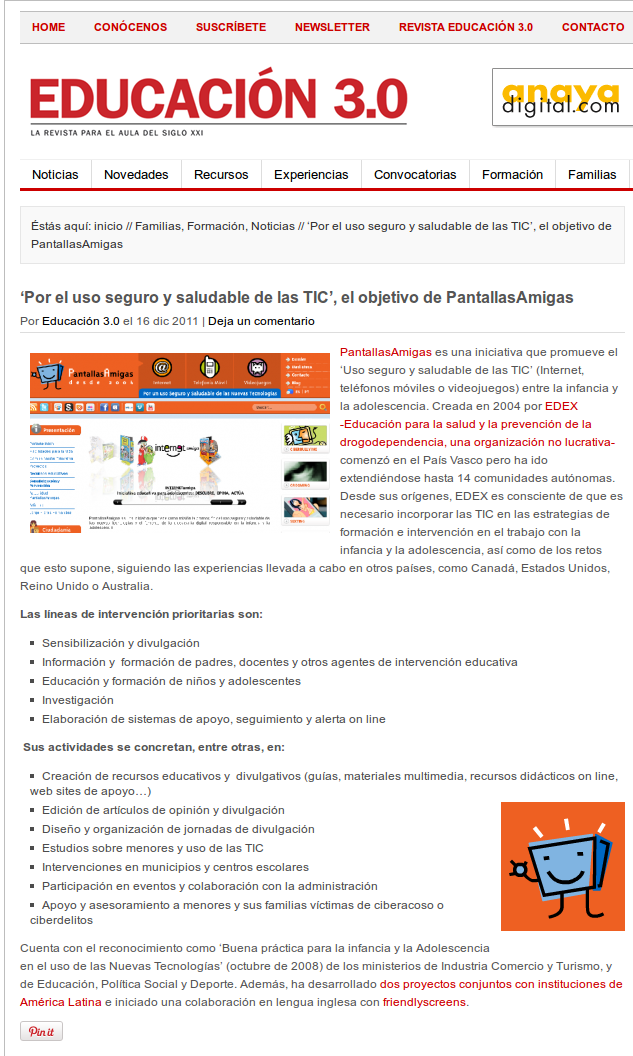Por el uso seguro y saludable de las TIC, el objetivo de PantallasAmigas