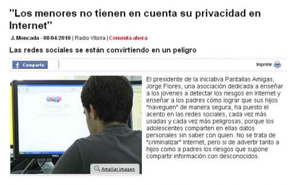 Los menores no tienen en cuenta su privacidad en Internet