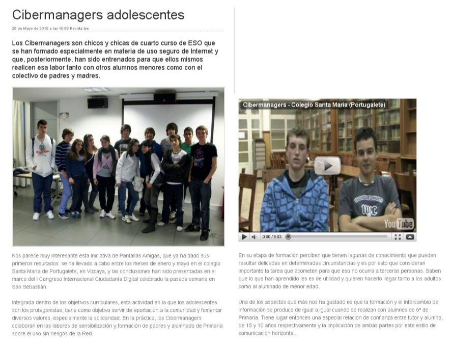 Cibermanagers adolescentes