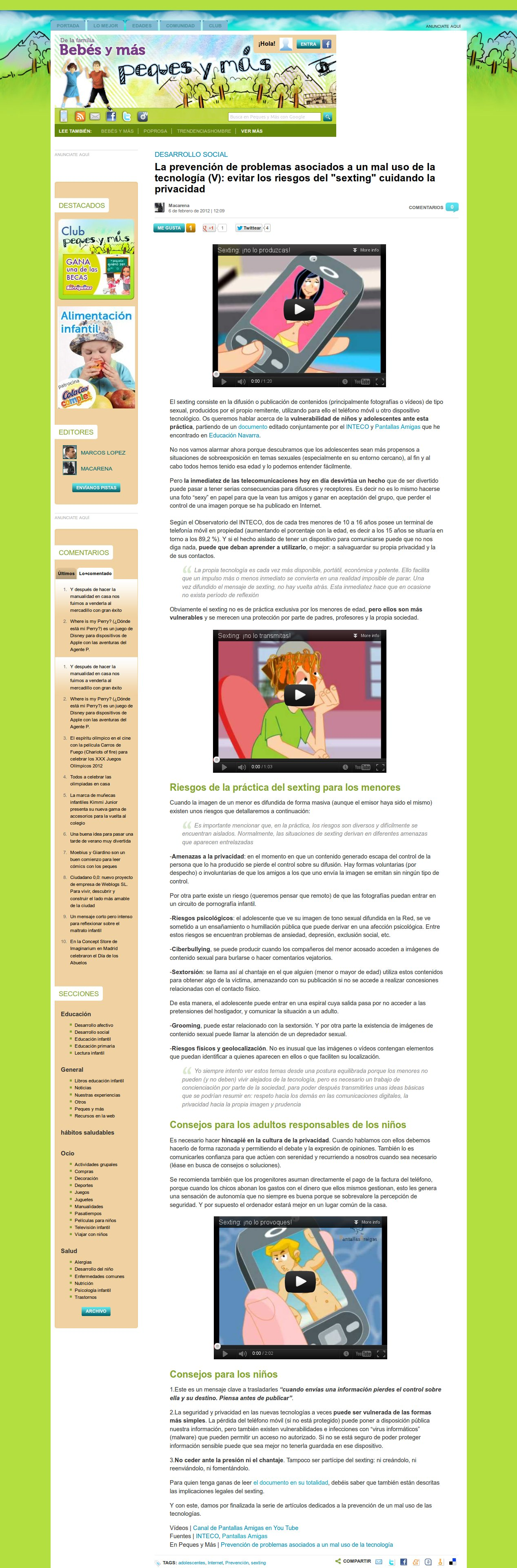 La prevención de problemas asociados a un mal uso de la tecnología (V): evitar los riesgos del sexting cuidando la privacidad