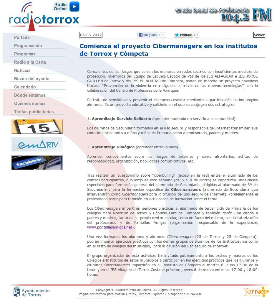Comienza el proyecto Cibermanagers en los institutos de Torrox y Cómpeta