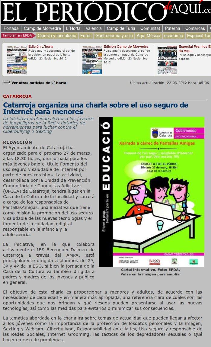 Catarroja organiza una charla sobre el uso seguro de Internet para menores