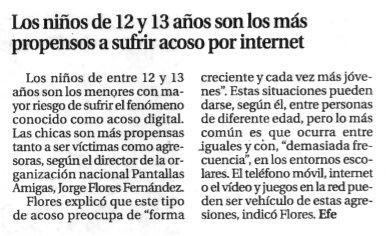 Los niños de 12 y 13 años son los más propensos a sufrir acoso por Internet
